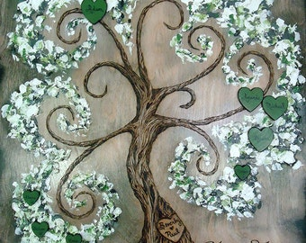 "WHIMSICAL FAMILY TREE 18"" x 24"", Custom Handmade  Wood Burned on Birch Wood and Enhanced with Oil and Latex Paint by Vicki Hamende"