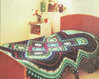 Counterpane of Many Colours single bed afghan vintage crochet pattern PDF instant download