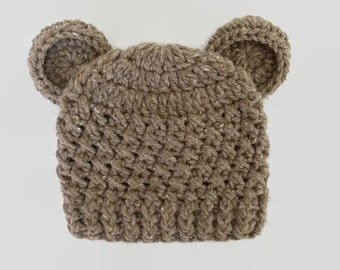 Baby bear hat Brown bear hat Newborn boy hat Baby animal hat Brown newborn hat Wool baby hat Newborn crochet hat Baby boy hat Teddy bear hat
