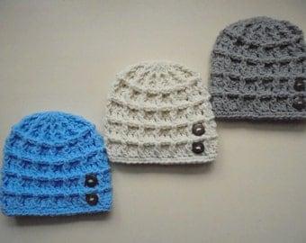 Baby boy hats Newborn hats Crochet baby hat Button baby hat Baby boy beanie Newborn boy hat Hospital hat Crochet newborn hat Baby boy outfit