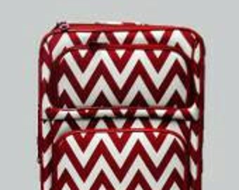 Red chevron carry on luggage