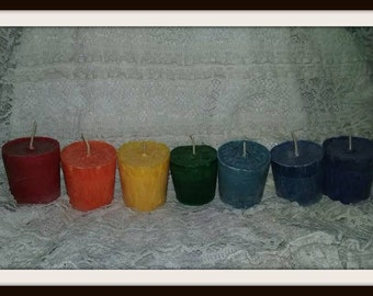 Rainbow votive set, made with all natural palm wax,