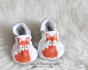 Orange Fox Baby Shoes Fox Baby Booties Fox Crib Shoes Fox Baby Clothes Baby Boy Shoes Baby Girl Shoes Orange Fox Shoes Orange Fox Booties