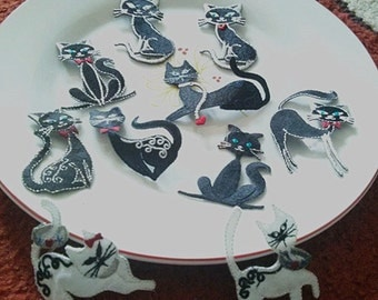 Wholesale Lot 10pcs black white  Cat   embroidered iron on patch