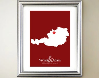 Austria Custom Vertical Heart Map Art - Personalized names, wedding gift, engagement, anniversary date