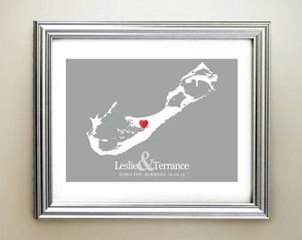 Bermuda Custom Horizontal Heart Map Art - Personalized names, wedding gift, engagement, anniversary date