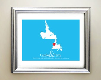 Newfoundland and Labrador Custom Horizontal Heart Map Art - Personalized names, wedding gift, engagement, anniversary date