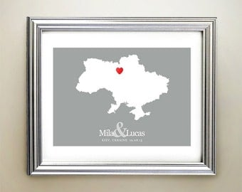 Ukraine Custom Horizontal Heart Map Art - Personalized names, wedding gift, engagement, anniversary date