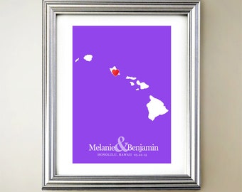 Hawaii Custom Vertical Heart Map Art - Personalized names, wedding gift, engagement, anniversary date