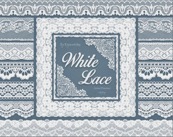 """Digital White Lace border clip art - """"White Lace borders"""" clipart with digital white lace border images, for cards and scrapbooking"""