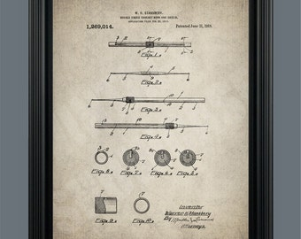 Vintage Double Ended Crochet Hook Patent Poster Print - Crochet Hook Wall Art -  Instant Download - Ready to Print - #053