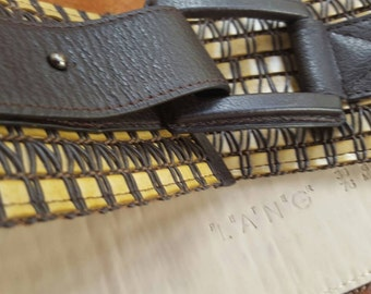 Belt leather buckle plaited brown leather belt by Peter Lang