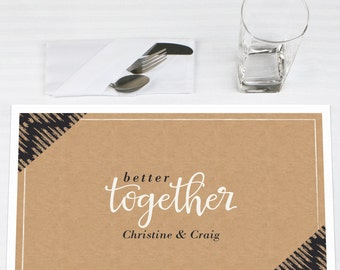 Better Together - Personalized Placemats for Wedding - Party Supplies - Set of 12