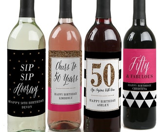 50th Birthday Wine Bottle Labels - Custom Chic 50th Birthday Wine Bottle Labels - Funny Personalized Wine Gift for Women - Set of 4 Labels