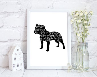 Staffy gift, presents for staffy lover, staffordshire bull terrier gift, art print staffy, staffy gift merchandise, staffy presents