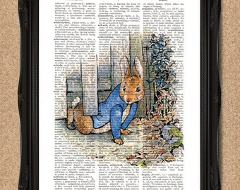 Peter Rabbit Print Creeping Under the Gate Beatrix Potter Art for Nursery, Bedroom or Playroom Wall Art for New Borns, Boys & Girls A204