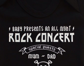 Rock Concert / Gig Poster Baby Baby Grow /Bodysuit / Funny Baby Vest Metal Baby Gift Boys or Girls by Baby Moo's