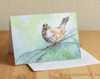 Song Sparrow Watercolor Blank Notecard
