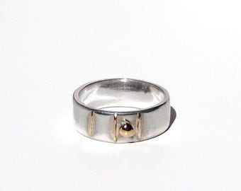 Wedding Band - Size 6 - Rustic Sterling Silver and 14k Solid Gold Nugget - Gold Nugget Ring