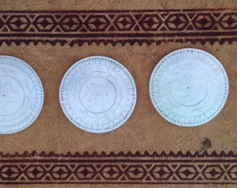 Antique  Chinese  Mother of Pearl  Game  Pieces  Tokens  Markers  1900s