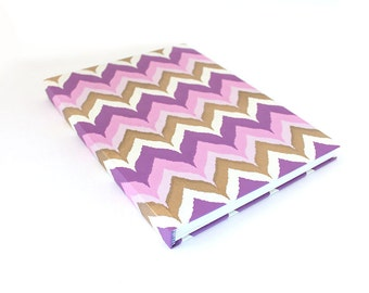 REDUCED** Large Hardcover Sketchbook, Chevrons in Pink Purple and Gold, Jumbo Journal, Unlined Notebook, Unique Sketchbook, Gift for Artist