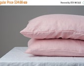 ON SALE Set of 2 linen pillow covers Stone Washed pink/peach  + wooden buttons flax linens bedroom buttoned cases