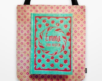 Emma Tote Bag: Jane Austen, library, book, aqua, blue, red, pink, hipster, librarian, teacher