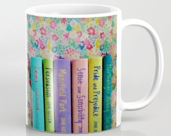 Jane Austen Library mug: coffee, tea, cup, books, book, librarian, pastel