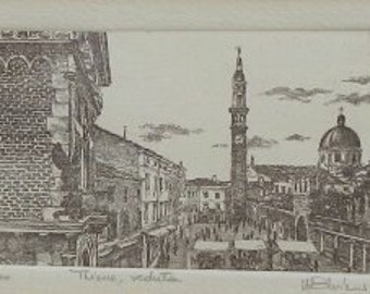 Vintage Original Art Etching of Italy!