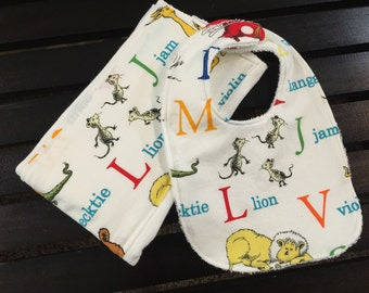 Dr. Seuss ABCs baby bib and burp cloth set