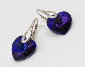 Swarovski Crystal Heart Earrings, Sterling Silver, Leverback Earrings, Purple Earrings, Heliotrope Earrings, Purple Heart, Crystal Earrings