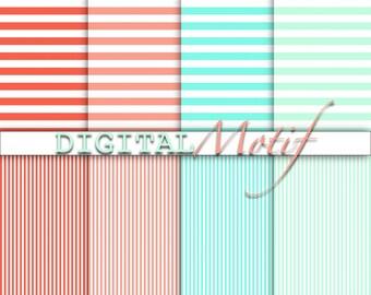 Coral & Mint Stripe Digital Paper, Digital Download, Printable instant download, Coral and Mint Decoupage Paper DM150 - 300 PPI - JPG