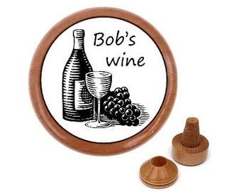 Personalized wine stopper. Gadgets for men. Wine making. Bespoke wine stopper. Custom made wooden wine bottle stopper.