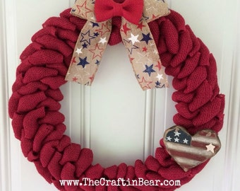 Burlap wreath - Patriotic wreath - red white & blue - 4th of July wreath - American wreath - 4th of July decor - Americana - USA heart