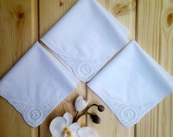 Set of 3 handkerchief monogrammed on corner. Initial on corner. Best seller! only monogram! unique handkerchief!