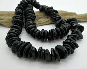"Stunning Black Tourmaline Nugget Beads, Flat Stone Nugget, 8-13mmx 3-5mm (8"" loose)"