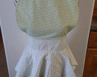 Green and White Apron