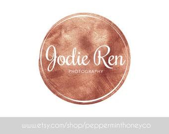 1121 - PRE-MADE LOGO, Copper, Rose Gold, Premade Logo, Design, Photographer Logo, Small business, Boutique, Blog, Glitz, Girly, Feminine