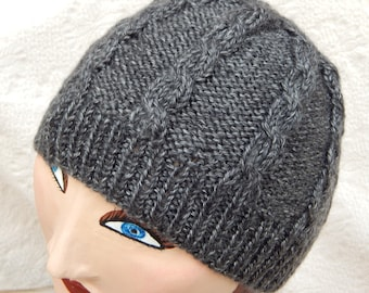Baby Alpaca/Silk Charcoal Gray Cabled Cap