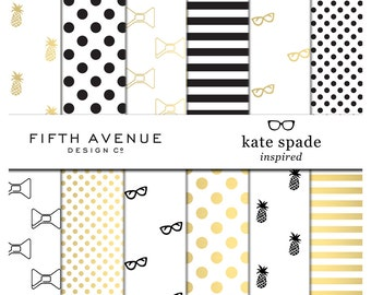 Digital Paper - Kate Spade Inspired - Black & Gold