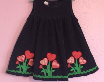 Vintage Corduroy Dress w/ Hearts and Rick-Rack. Vintage Toddler Dress. Corduroy Heart Dress. Navy Blue Corduroy Dress. Vintage Heart Dress.