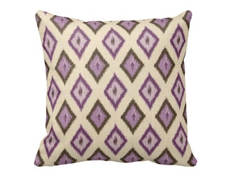 One 18x18 Pillow Cover Purple Pillow Ikat Pillow Brown Pillow Plum Pillow Decorative Throw Pillow Decorative Pillow Lavender Pillow