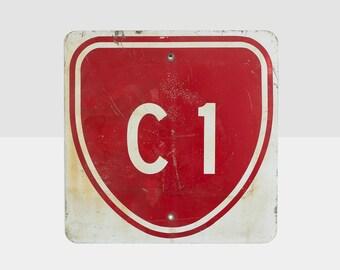 vintage highway metal sign, vintage metal sign, C1 metal sign, street route sign, vintage sign, metal sign, street sign, vintage street sign