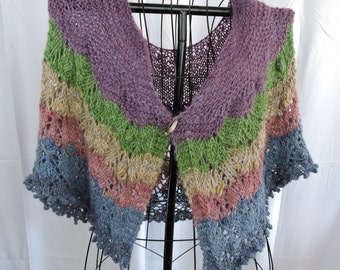 The Perfect Shawl  Shrug Collar Poncho Alpaca Kid Mohair  Creates Fun Look to Mix with Any Outfit Gradient Yarn
