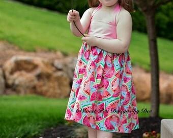 Girls Watermelon dress, girls halter dress, sundress,  toddler dress, Summer dress, pink dress, little girls halter dress, baby dress