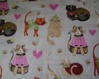 Sweater Kitties Cotton Fabric (1 yd 9 in)
