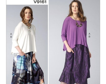 Vogue Pattern V9161 Misses' Raglan Sleeve Tops and Side-Drawstring Skirts