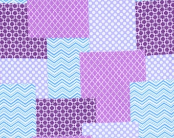 Anti-Pill Purple Patchwork Fleece Fabric Sold by the Yard