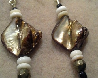 Handcrafted Brown/Ivory Mother of Pearl Shell Earrings