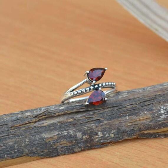 Genuine Garnet Gemstone Ring, Solid 925 Sterling Silver Bezel Ring, January Birthstone Ring, Unique Gift Designer Ring Size 8.75